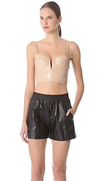 Alexander Wang Glossed Croc Bustier Top