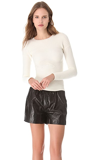 Alexander Wang Bandaged Rib Crew Neck Sweater