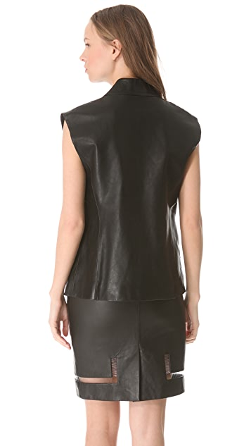 Alexander Wang Leather Cap Sleeve Vest