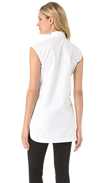 Alexander Wang Sleeveless Fishline Oxford Shirt