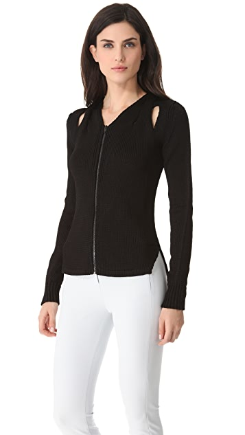 Alexander Wang Molded Cable Zip Front Cardigan