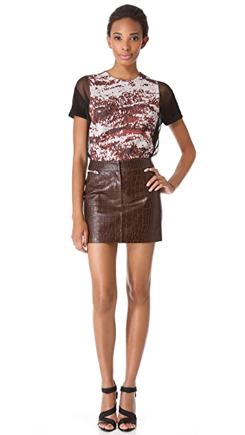 Alexander Wang Embossed Croc Leather Miniskirt