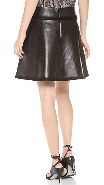 Alexander Wang Flared Leather Skirt with Mohair Seaming