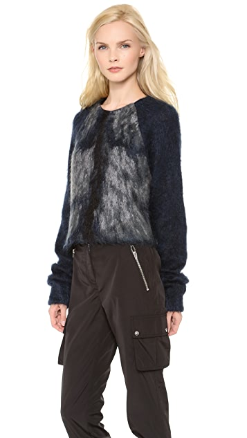 Alexander Wang Fur Spine Crop Pullover