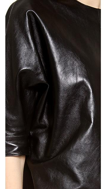 Alexander Wang Leather Dolman Sleeve Dress