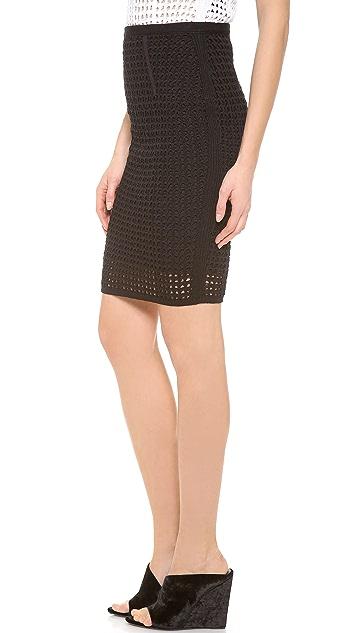 Alexander Wang Crochet Fitted Pencil Skirt
