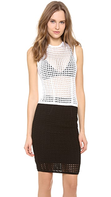 Alexander Wang Fitted Shrunken Crochet Tank