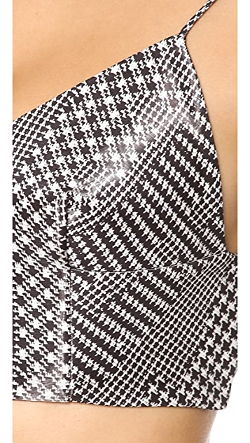 Alexander Wang V Neck Cropped Houndstooth Cami