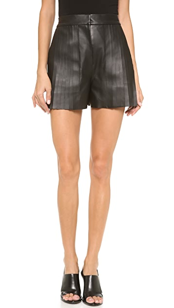 Alexander Wang High Waist Leather Shorts