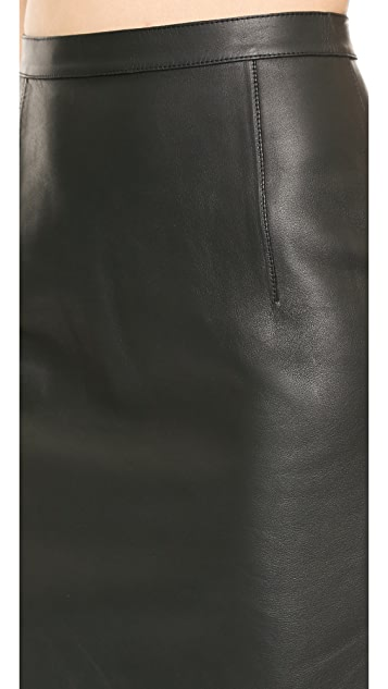 Alexander Wang Leather Pencil Skirt with Stud Closure