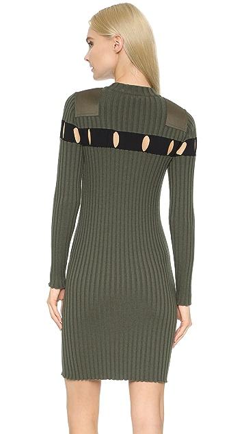 Alexander Wang Perforated Stripe Crew Neck Dress