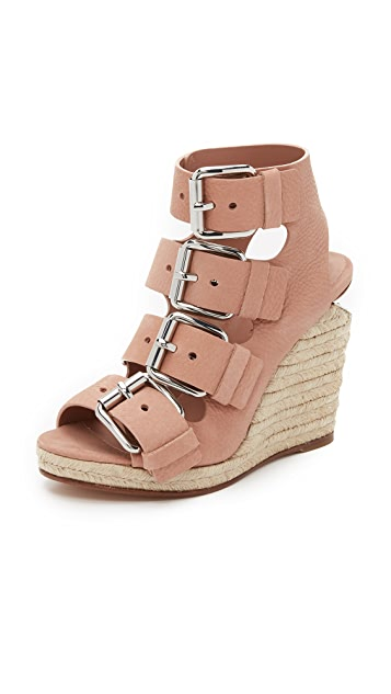 Alexander Wang Leather Sandals with Raffia Wedges Gr. IT 39 B4ZbbRp