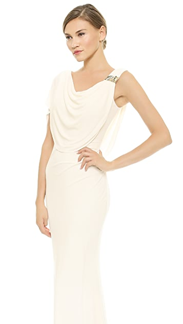 Badgley Mischka Collection Gown with Beaded Shoulder