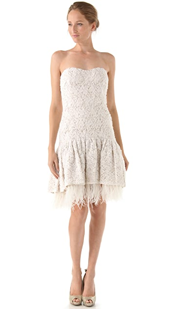Badgley Mischka Collection Drop Waist Lace & Ostrich Feather Dress