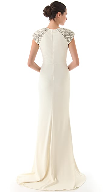 Badgley Mischka Collection Deco Cap Sleeve Gown