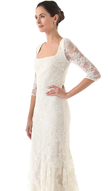 Badgley Mischka Collection Lace 3/4 Sleeve Gown