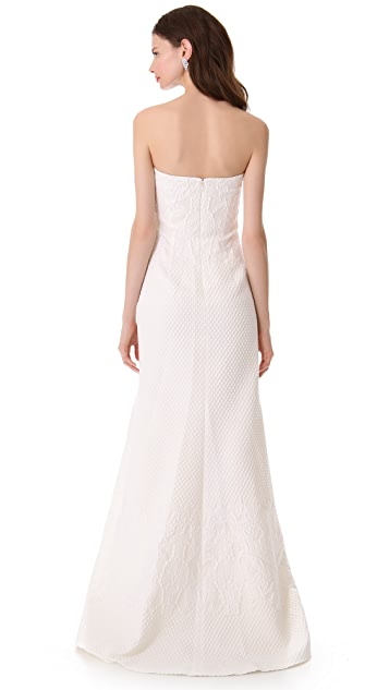 Badgley Mischka Collection Ivory Brocade Strapless Gown