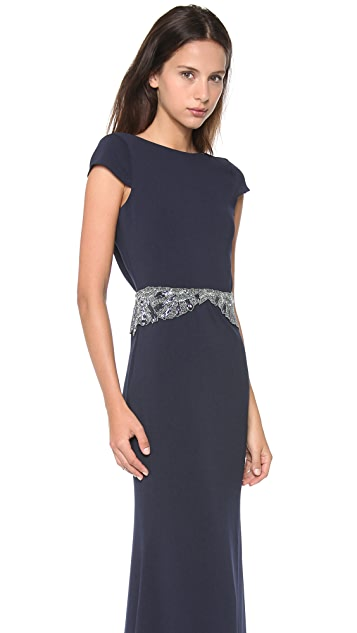 Badgley Mischka Collection Cowl Back Beaded Gown