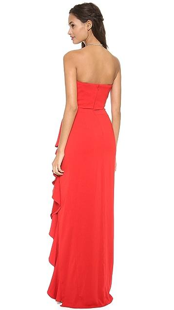 Badgley Mischka Collection Ruffle Slit Strapless Gown
