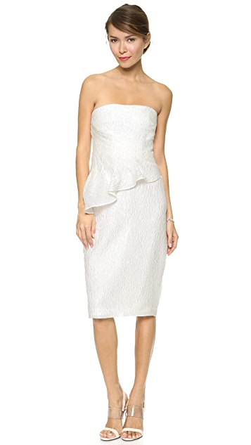 Badgley Mischka Collection Asymmetrical Peplum Strapless Dress