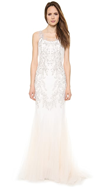 Badgley Mischka Collection Beaded Tulle Gown
