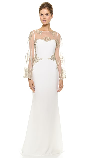 Badgley Mischka Collection Bell Sleeve Gown