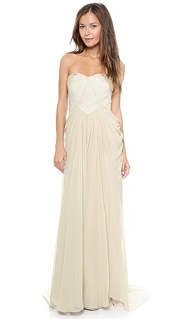 Badgley Mischka Collection Bustier Drape Gown