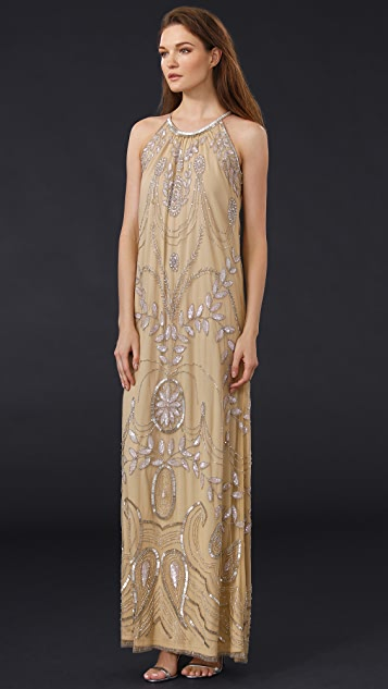 Badgley Mischka Collection Beaded Halter Gown