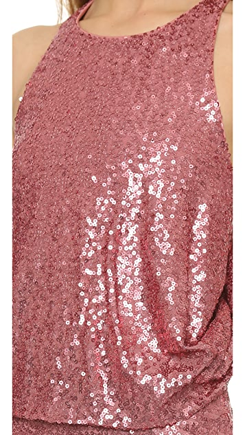 Badgley Mischka Collection Draped Sequin Gown