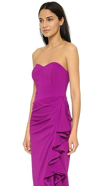 Badgley Mischka Collection Side Slit Ruffle Dress