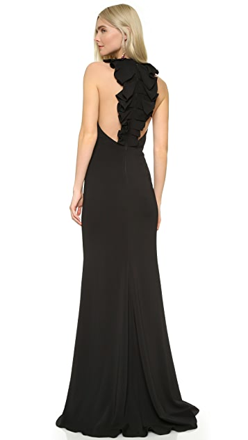 Badgley Mischka Collection Ruffle Back Gown | SHOPBOP