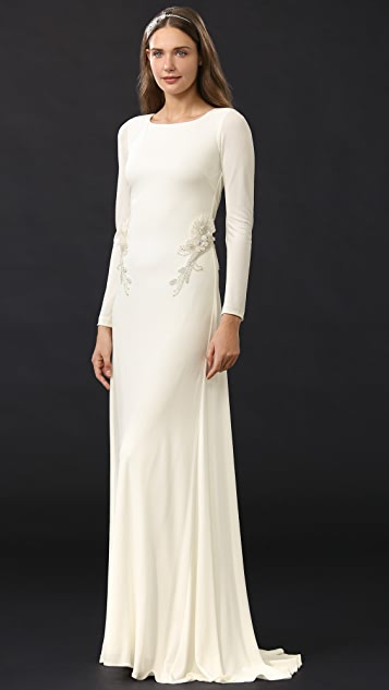 Badgley Mischka Collection Open Back Jersey Gown