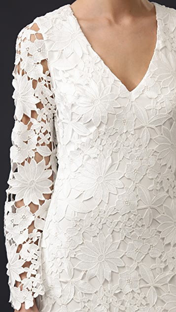 Badgley Mischka Collection Long Sleeve Lace Waist Gown