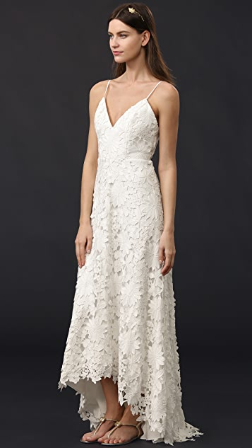 Badgley Mischka Collection Deep V Guipure Gown