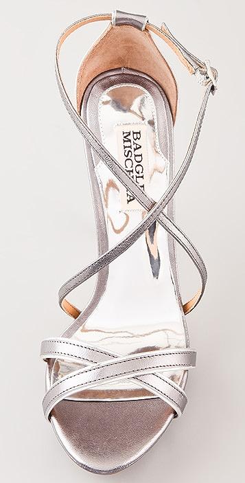 Badgley Mischka Fierce Metallic Strappy Sandals
