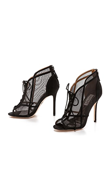 Badgley Mischka Foley II Mesh Lace Up Booties