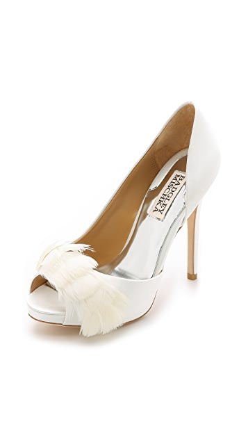 a1127df65705 Badgley Mischka Piper Feather Peep Toe Pumps | SHOPBOP