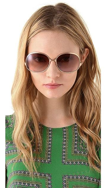 Balenciaga Bottom Temple Metal Sunglasses
