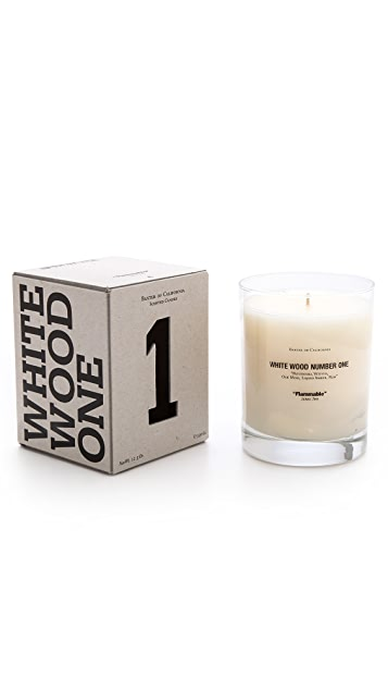 Baxter of California White Wood Number 1 Candle
