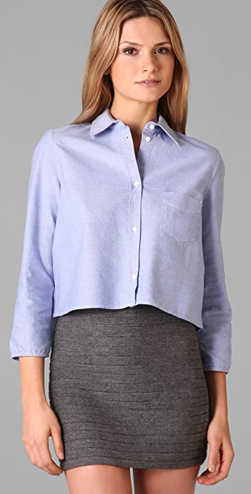Band of Outsiders Cropped Shirt with Cutaway Hem