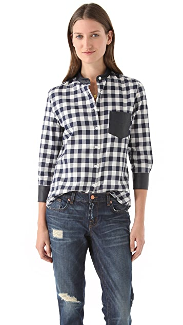 Band of Outsiders Easy Shirt with Leather Pocket