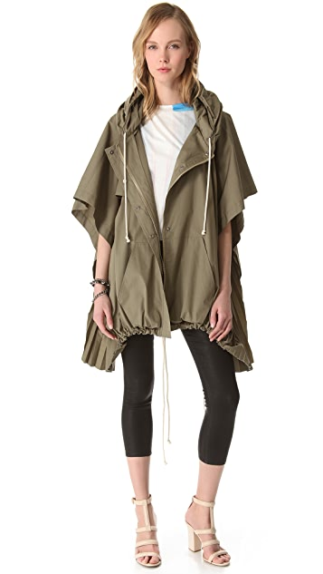 Band of Outsiders Hooded Full Zip Poncho