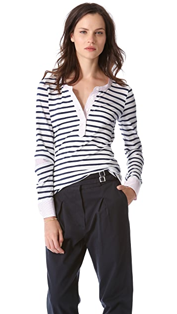 Band of Outsiders Stripe Henley With Poplin Detail