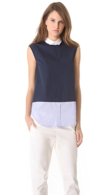 Band of Outsiders Mixed Sleeveless Shirt