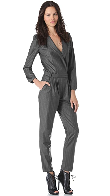 Band of Outsiders Pinstripe Jumpsuit with Peak Shoulder