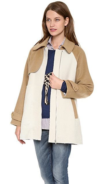 Band of Outsiders Shearling Shrunken Trench Coat