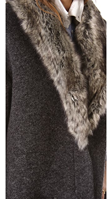 Band of Outsiders Coat with Faux Fur Collar