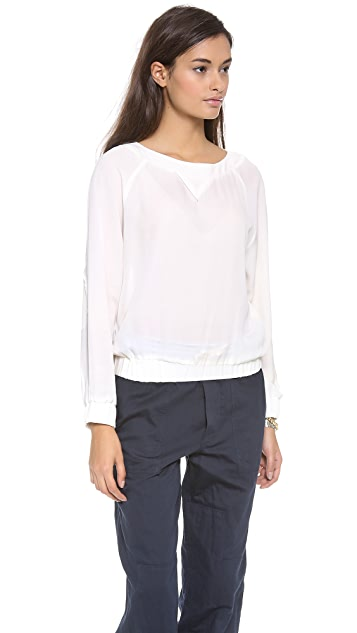 Band of Outsiders Silk Raglan Baseball Blouse