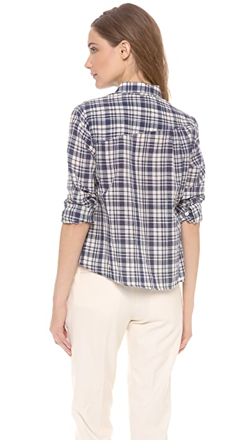 Band of Outsiders Plaid Cropped & Boxy Shirt