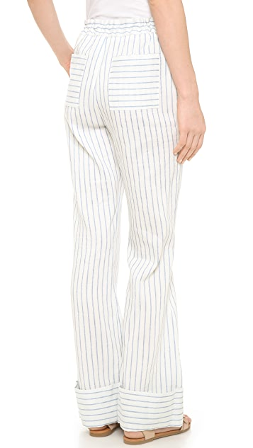 Band of Outsiders Stripe Suiting Wide Leg Pants